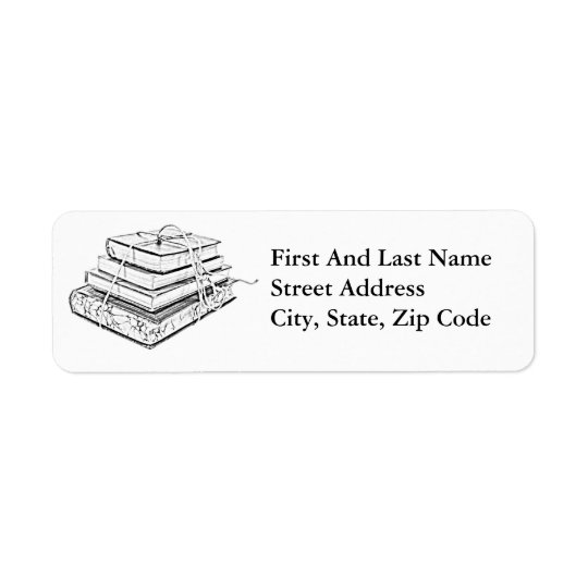 Tied Classic Books Literary Reading Pencil Sketch Return Address Label