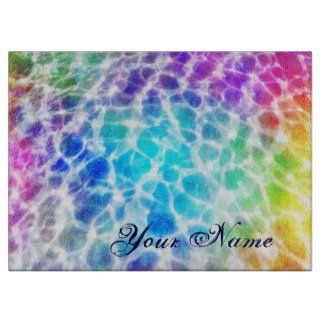 Tiedye Hippie Wavy Rainbow Effect Cutting Board