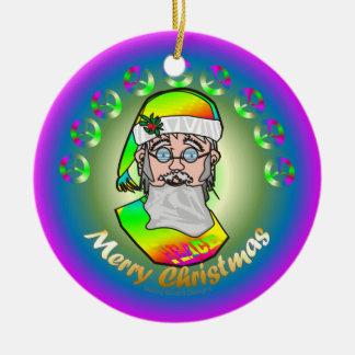 TieDye Santa Christmas Ornament
