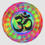 Tiedye Target with Om Symbol Round Stickers