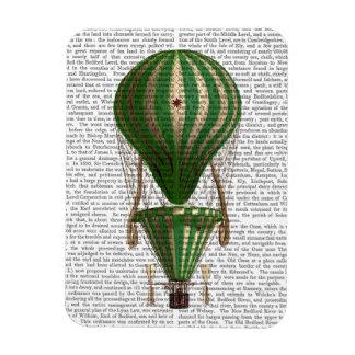 Tiered Hot Air Balloon Green Rectangular Photo Magnet
