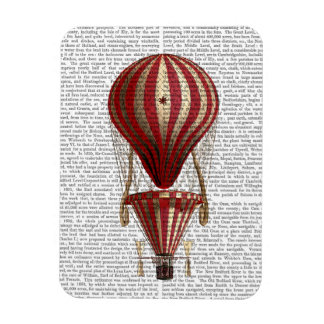 Tiered Hot Air Balloon Print Red Magnet