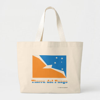 Tierra del Fuego flag with name Large Tote Bag