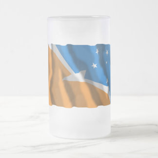 Tierra del Fuego waving flag Frosted Glass Mug