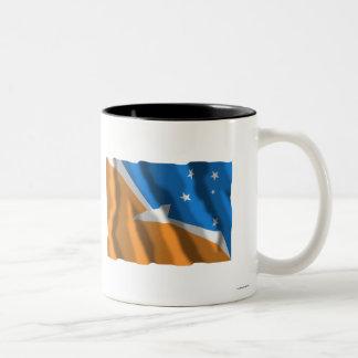 Tierra del Fuego waving flag Two-Tone Mug