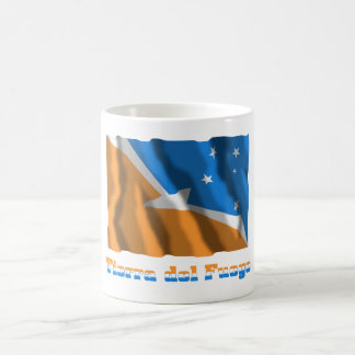 Tierra del Fuego waving flag with name Basic White Mug