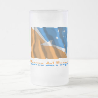 Tierra del Fuego waving flag with name Frosted Glass Mug