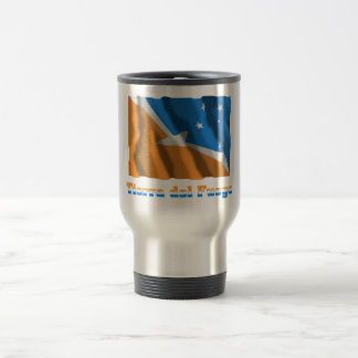 Tierra del Fuego waving flag with name Stainless Steel Travel Mug
