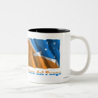 Tierra del Fuego waving flag with name Two-Tone Mug