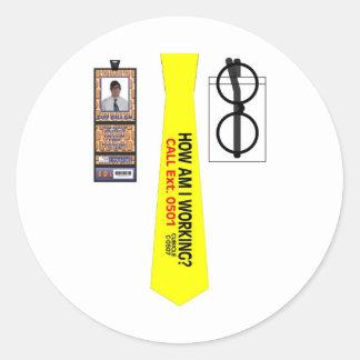 TieShirt014- How Am I Working copy Round Sticker