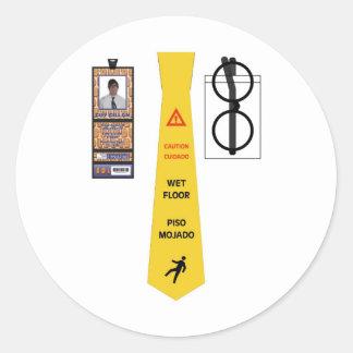 TieShirt025- Wet Floor copy Round Sticker