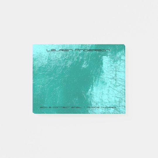 Tiffany Aqua Black Office Business Personalised Post-it Notes