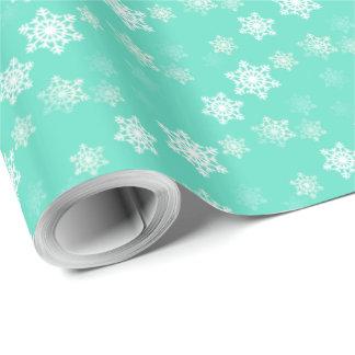 Tiffany Aqua Blue Snow Flurries Wrapping Paper