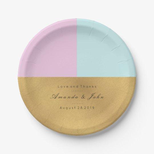 Tiffany Aqua Lilac Pink Gold Pastel Bridal Wedding 7 Inch Paper Plate