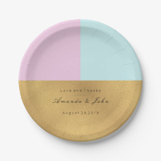 Tiffany Aqua Lilac Pink Gold Pastel Bridal Wedding Paper Plate