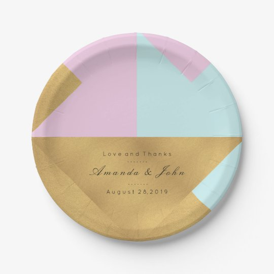 Tiffany Aqua Lilac Rose Gold Pastel Bridal Wedding 7 Inch Paper Plate