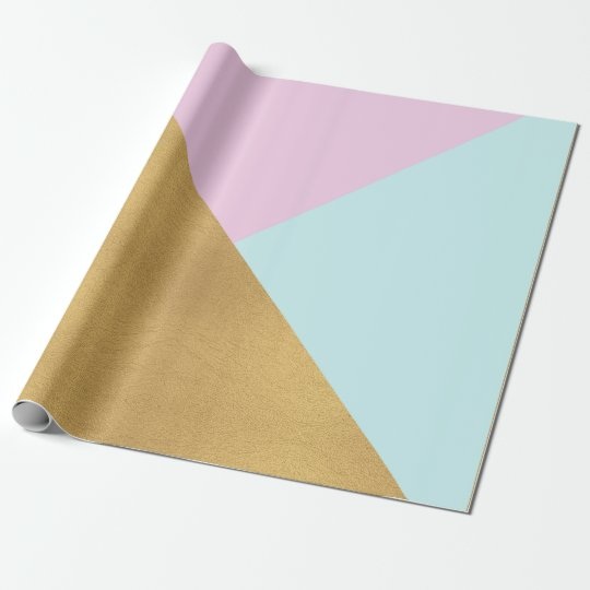 Tiffany Aqua Lilac Rose Gold Pastel Geometry Trian Wrapping Paper