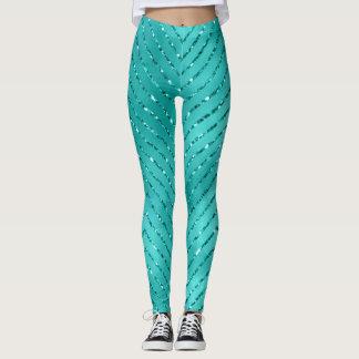Tiffany Aquatic Blue Metallic Crystal Chevron Glas Leggings