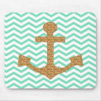 Tiffany Blue and Gold Anchor Mousepad