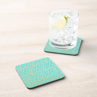 Tiffany Blue and Gold Confetti Coaster