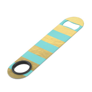 Tiffany Blue and Gold Foil Stripes Printed