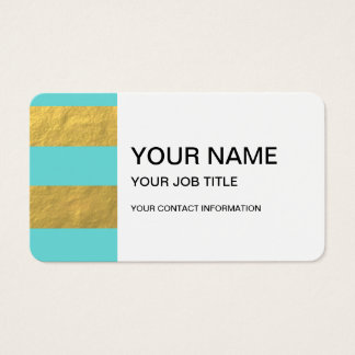 Tiffany Blue and Gold Foil Stripes Printed Business Card