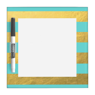 Tiffany Blue and Gold Foil Stripes Printed Dry-Erase Whiteboard