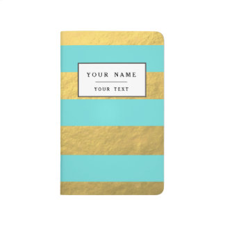 Tiffany Blue and Gold Foil Stripes Printed Journals