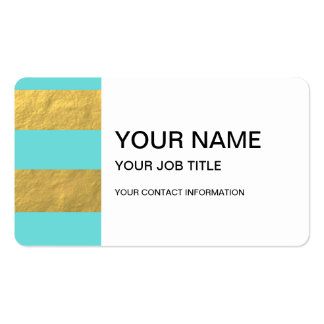 Tiffany Blue and Gold Foil Stripes Printed Pack Of Standard Business Cards