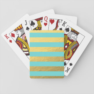 Tiffany Blue and Gold Foil Stripes Printed Poker Deck
