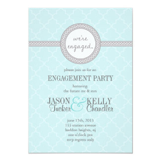 Tiffany Blue and Grey Engagement Party Invitation