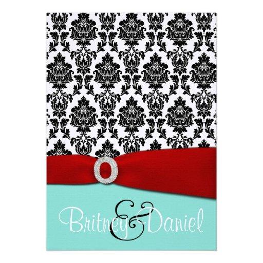 Tiffany Blue And Red Wedding Invitations 13 Cm X 18 Cm Invitation Card