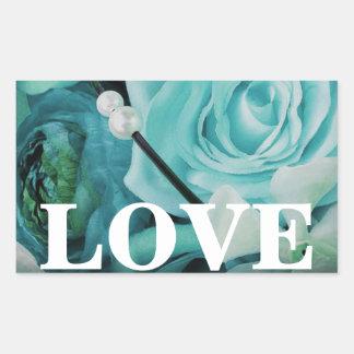 Tiffany Blue Aqua Teal Floral LOVE Stickers Seals