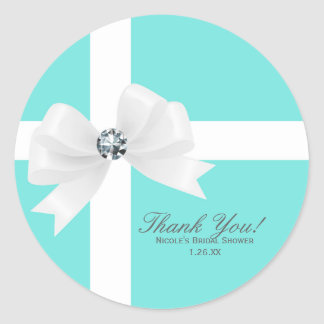 Tiffany Blue Bridal Shower White Bow Diamond Favor Classic Round Sticker