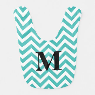 Tiffany Blue Chevron with Monogram Bib