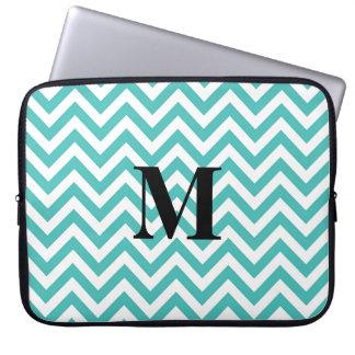 Tiffany Blue Chevron with Monogram Laptop Computer Sleeves