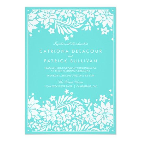 Tiffany Wedding Invitations: Tiffany Blue Floral Pattern Wedding Invitation