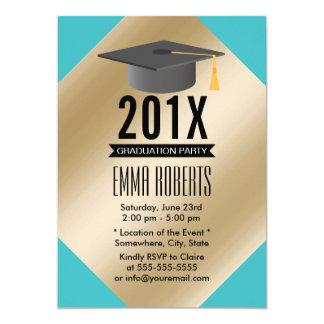 Tiffany Blue Foil Gold Modern 2016 Graduation 13 Cm X 18 Cm Invitation Card