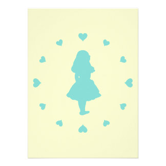 Tiffany Blue Hearts Around Alice Invitations
