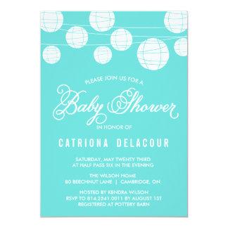 "Tiffany Blue Lantern Baby Shower Invitation 5"" X 7"" Invitation Card"