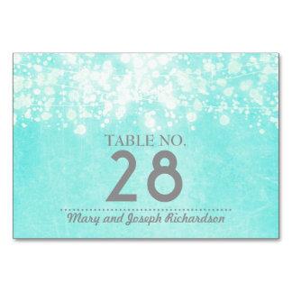 Tiffany Blue String lights Wedding Table Card
