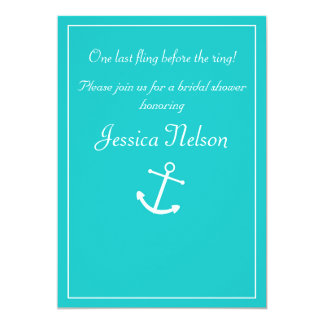 "Tiffany Blue Turquoise Nautical Anchor Invitation 5"" X 7"" Invitation Card"