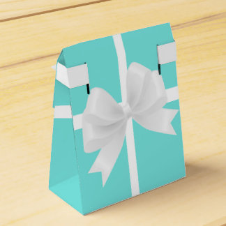 Tiffany Blue & White Bow Elegant Party Favor Boxes