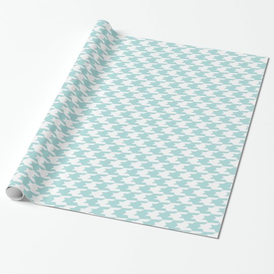 Tiffany Blue & White Houndstooth Pattern Wrapping Paper