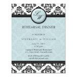 Tiffany Damask Monogram Rehearsal Dinner Card
