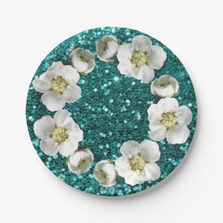 Tiffany Emerald Blue Floral Wreath Wedding Glitter Paper Plate