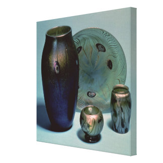 Tiffany favrile plate and vases canvas print
