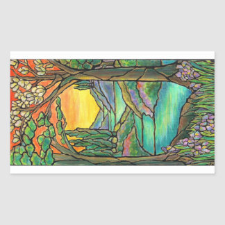 Tiffany Landscape Stained Glass Design ART! Rectangular Sticker
