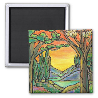 Tiffany Landscape Stained Glass Design ART! Square Magnet