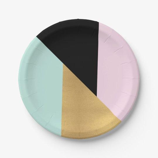 Tiffany Mint Pink Gold Glass Metallic Geometry Paper Plate
